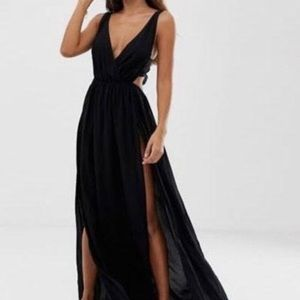 Long black ASOS dress.